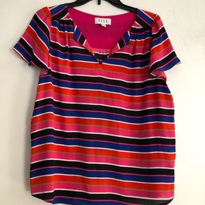 Elle striped, multicolored short-sleeve blouse.